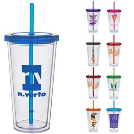 Promotional 20 oz. Color Lid Straw Carnival Cup