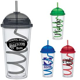 Promotional 20 oz. Color Dome Curley Straw Carnival Cup
