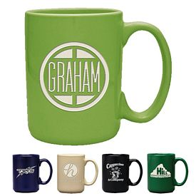 Promotional 15 oz. Atlas Coffee Mug with Deep Etching