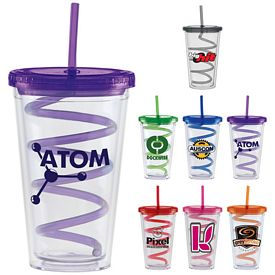 Promotional 20 oz. Color Lid Curly Straw Carnival Cup