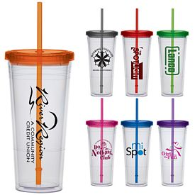 Promotional 24 oz. Extra Large Color Lid Straw Carnival Cup