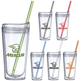 Promotional 16 oz. Clear Urban Straw Tumbler