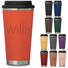Promotional 16 oz. Stainless Steel Leatherette Metro Tumbler