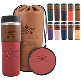Promotional 14 oz. Alta Woodgrain Tumbler & Coaster Bag Gift Set