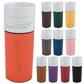 Promotional 14 oz. Porcelain Leatherette Tumbler with Deep Etching
