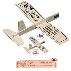 """Promotional 8"""" Balsa Wooden Toy Airplane Glider Merry Christmas"""