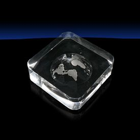 Customized Globe Square Crystal Paperweight