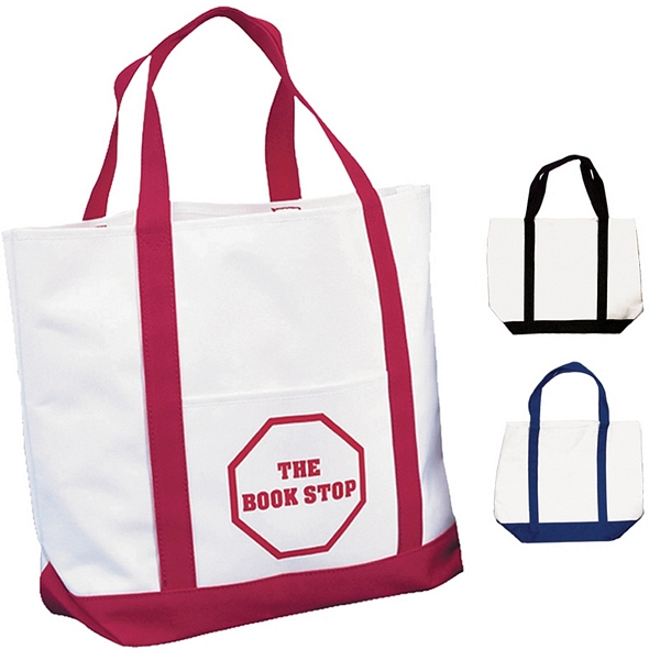 Customized White Polyester Tote Bag Two Tone