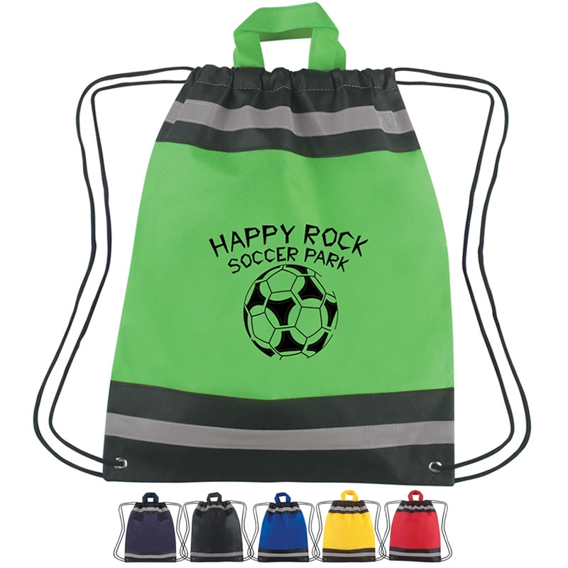 Promotioinal Small Non Woven Reflective Sports Drawstring Backpack