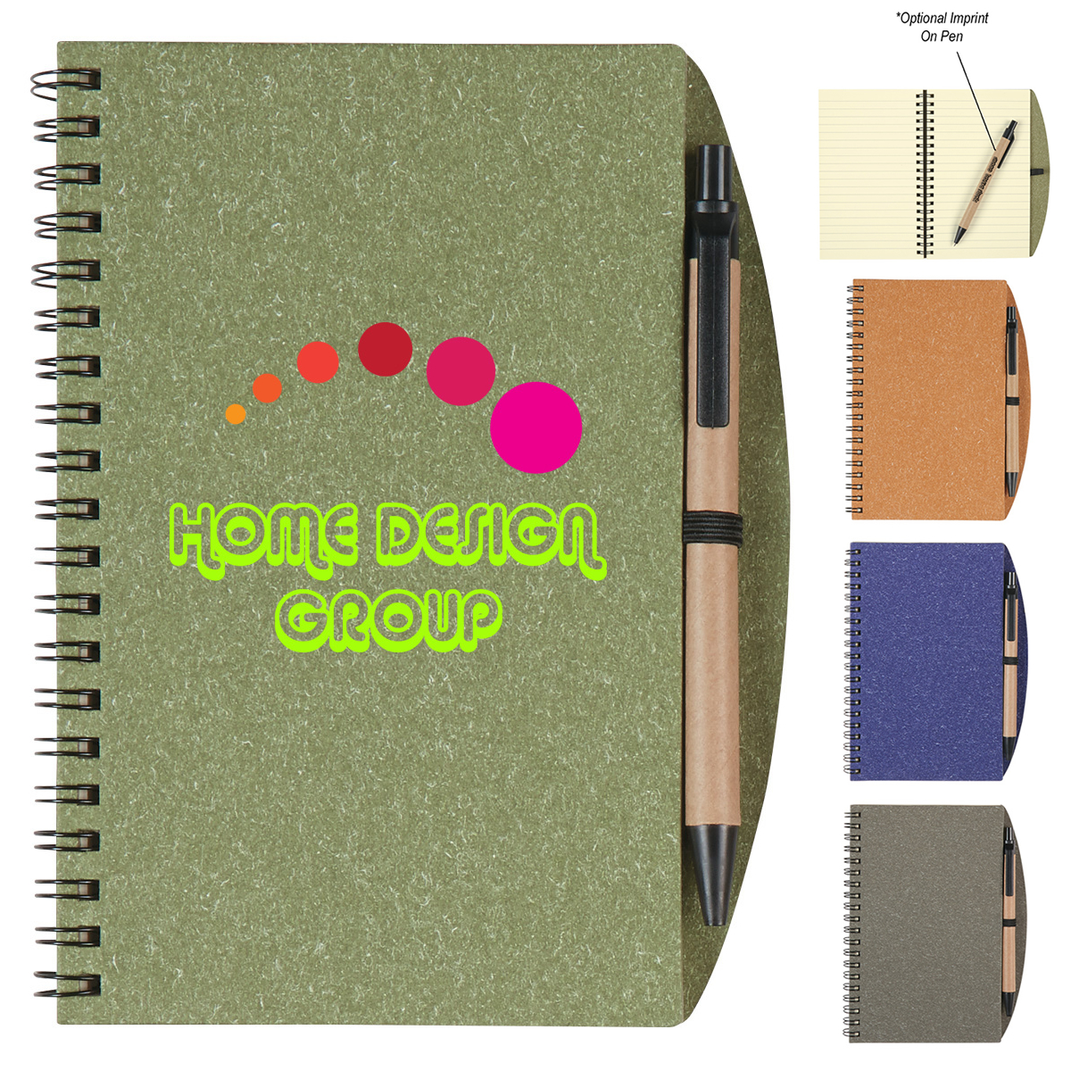 customized 5 x 7 eco inspired spiral notebook pen promotional