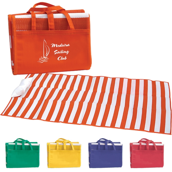 Custom Striped Beach Mat Tote Bag With Pillow