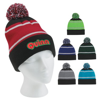 Promotional Tri-Tone Striped Pom Beanie With Cuff
