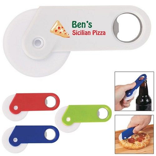 Promotional Pizza Cutter Bottle Opener