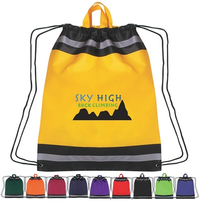 Promotional Non-Woven Reflective Sports Drawstring Backpack