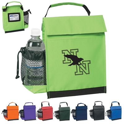 Custom Identification Lunch Bag With Water Bottle Holder