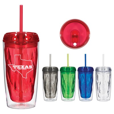 Custom 16 Oz Glacier Tumbler With Straw