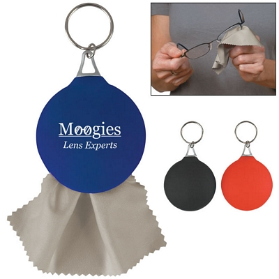 Custom Rubber Key Chain With Microfiber Cleaning Cloth