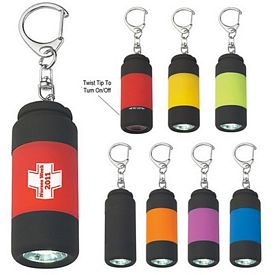 Promotional Rubberized LED Light With Key Clip