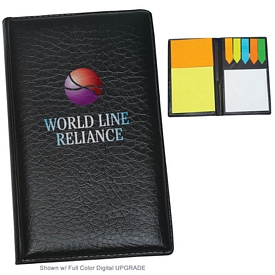 Promotional Leather Look Padfolio With Sticky Note Pads Flags