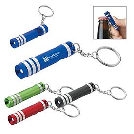 Promotional Versa Aluminum LED Key Light with Bottle Opener