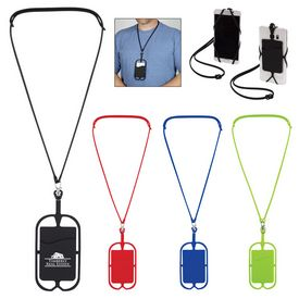 Customized Silicone Lanyard With Phone Holder Wallet
