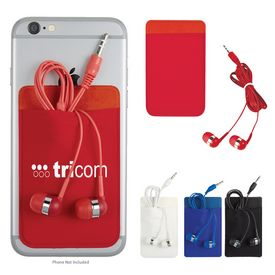 Customized Stretch Phone Card Sleeve With Ear Buds