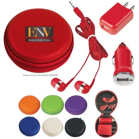 Promotional 3-In-1 Earbuds And Charging Travel Kit