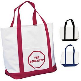 Promotional White Polyester Tote Bag Two Tone