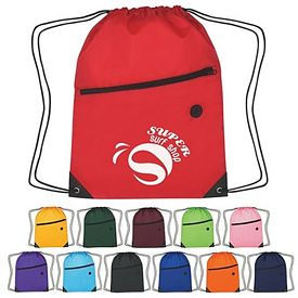 Promotional Fun Style Drawstring Backpack With Zipper