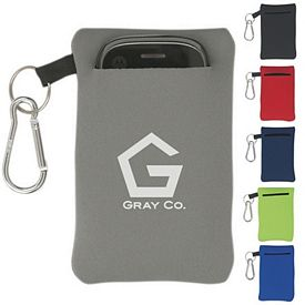 Promotional Neoprene Portable Electronics Case With Carabiner
