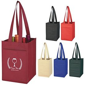 Custom Non-Woven 4 Bottle Wine Tote Bag