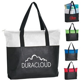 Promotional Non-Woven Zippered Two-Tone Tote Bag