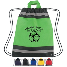 Customized Small Non-Woven Reflective Sports Drawstring Backpack
