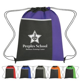 Custom Non-Woven Drawstring Pack With Large Front Pocket