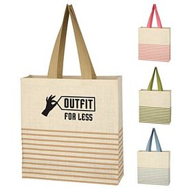 Promotional Biodegradable Striped Dash Jute Tote Bag