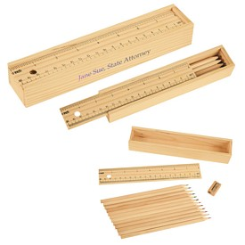 Customized Colored Pencil Set In Wooden Ruler Box