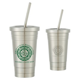 Customized 16 Oz Stainless Steel Cold Cup With Straw