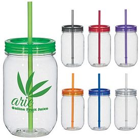 Promotional 25 Oz Straw Mason Jar