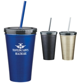 Promotional 16 Oz Stainless Steel Double Wall Tumbler With Straw