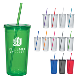Promotional 24 Oz Double Wall Acrylic Tumbler With Straw