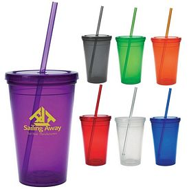Promotional 16 Oz Economy Double Wall Straw Tumbler