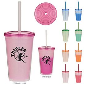 Customized 16 Oz Econo Color Changing Straw Tumbler