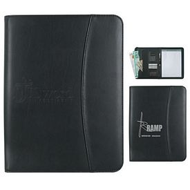 Custom Leather Look 8 X 11 Zippered Portfolio With Calculator