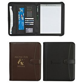 Customized Pebble Grain 8-1-2 X 11 Zippered Padfolio With Calculator