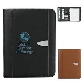 Custom Eclipse Bonded Leather 8-1-2 X 11 Zippered Portfolio With Calculator
