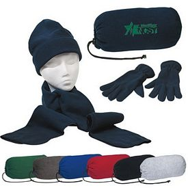 Custom Embroidered Keep Warm Winter Set - Gloves Beanie Cap Scarf