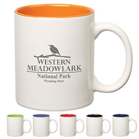 Promotional 11 oz Two-Tone Stoneware C-Handle Mug