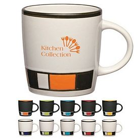 Promotional 14 oz Color Block Ceramic Mug