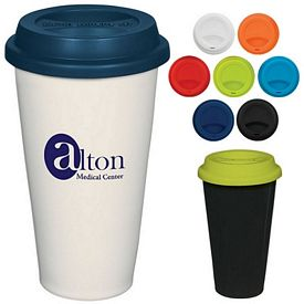 Promotional 11 oz Double Wall Ceramic Mug with Silicon Lid