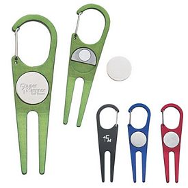 Customized Aluminum Clip Divot Tool With Ball Marker